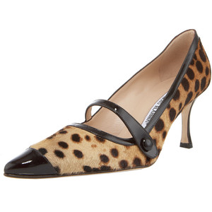 Manolo Blahnik leopard printed mary jane pumps