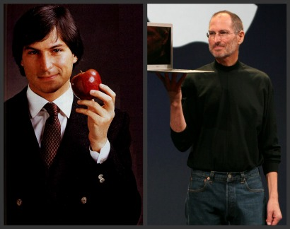 Steve Jobs had to dress like this ... before he could dress like this (Steve Jobs in a suit and tie, and then black turtleneck and jeans)