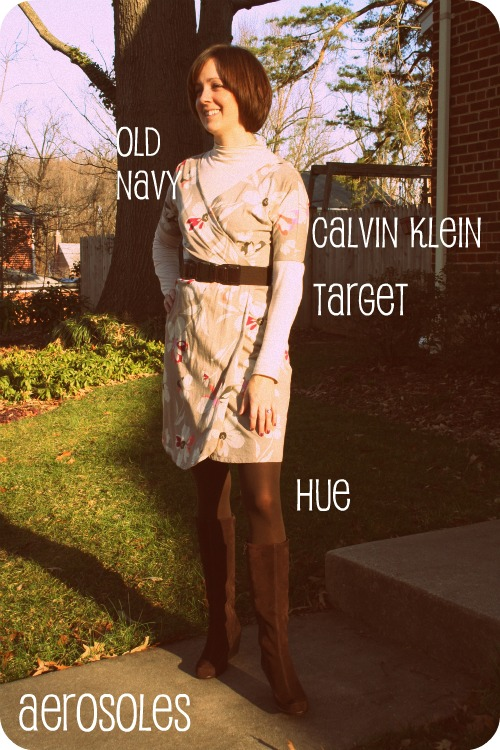 Level 4 outfit photo: Old Navy dress, Calvin Klein turtleneck, brown tights and Aerosoles boots