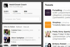 Screen shot of @closetcoach Twitter page
