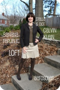 Outfit photo: Working mom outfit level 4 with brown blazer, v-neck sweater, tan skirt, brown house and brown kitten heels