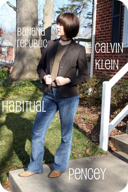 Level 2/Weekend Casual outfit: Brown Calvin Klein blazer, V-neck sweater, Habitual jeans, Pencey leopard booties