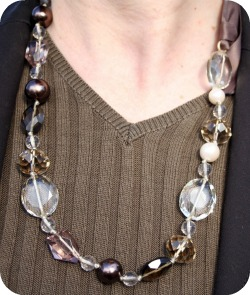 Closeup: Stella & Dot glass bead necklace with silk tie