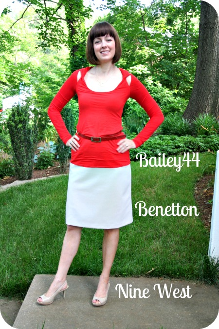 Working mom client meeting outfit: Red Bailey44 top, taupe Benetton skirt, taupe Nine West platform pumps