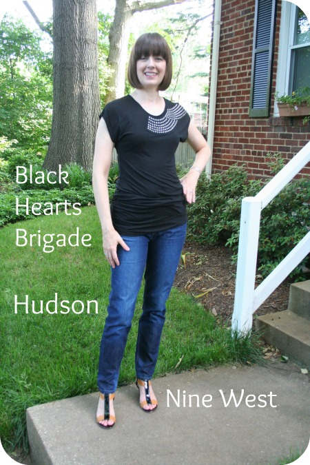 Casual Friday working mom outfit: Black Hearts Brigade T-shirt, Hudson skinny ankle jeans, Nine West cage sandals