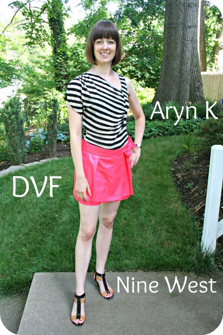 Working Mom Weekend Chic Outfit: Aryn K top, DVF skort, Nine West cage sandals