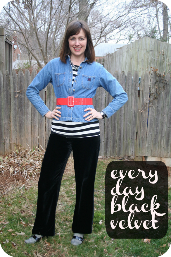 Working mom Casual Friday outfit idea  black velvet pants a60eb6917